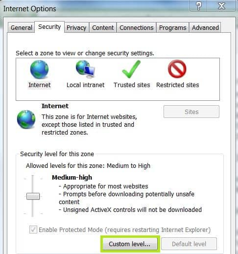 Automatic Logon Internet Explorer Security Tab