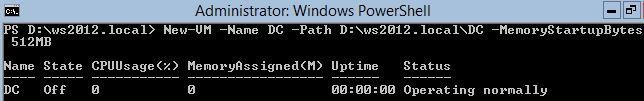 Create new Virtual Machine Powershell Windows Server 2012 Hyper-V