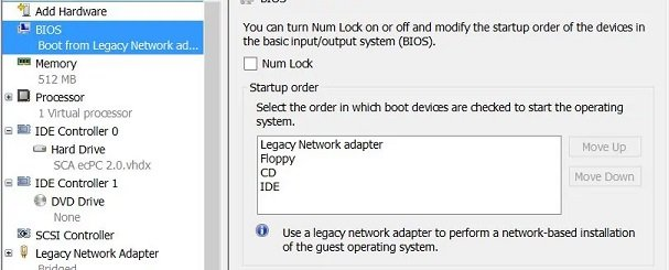 Configure boot order in Hyper-V