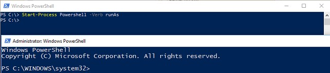 Use Start-Process to start an elevated Powershell window