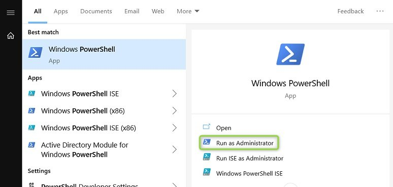 Start Powershell as administrator using the start menu in Windows 10