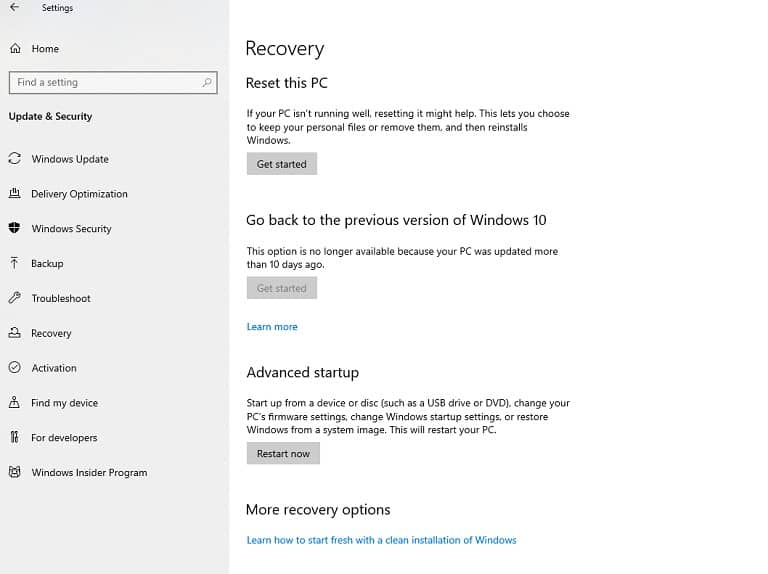 Recovery settings in Windows 10