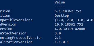 How to check Powershell version using PSVersionTable