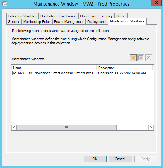 SCCM Maintenance windows on a collection